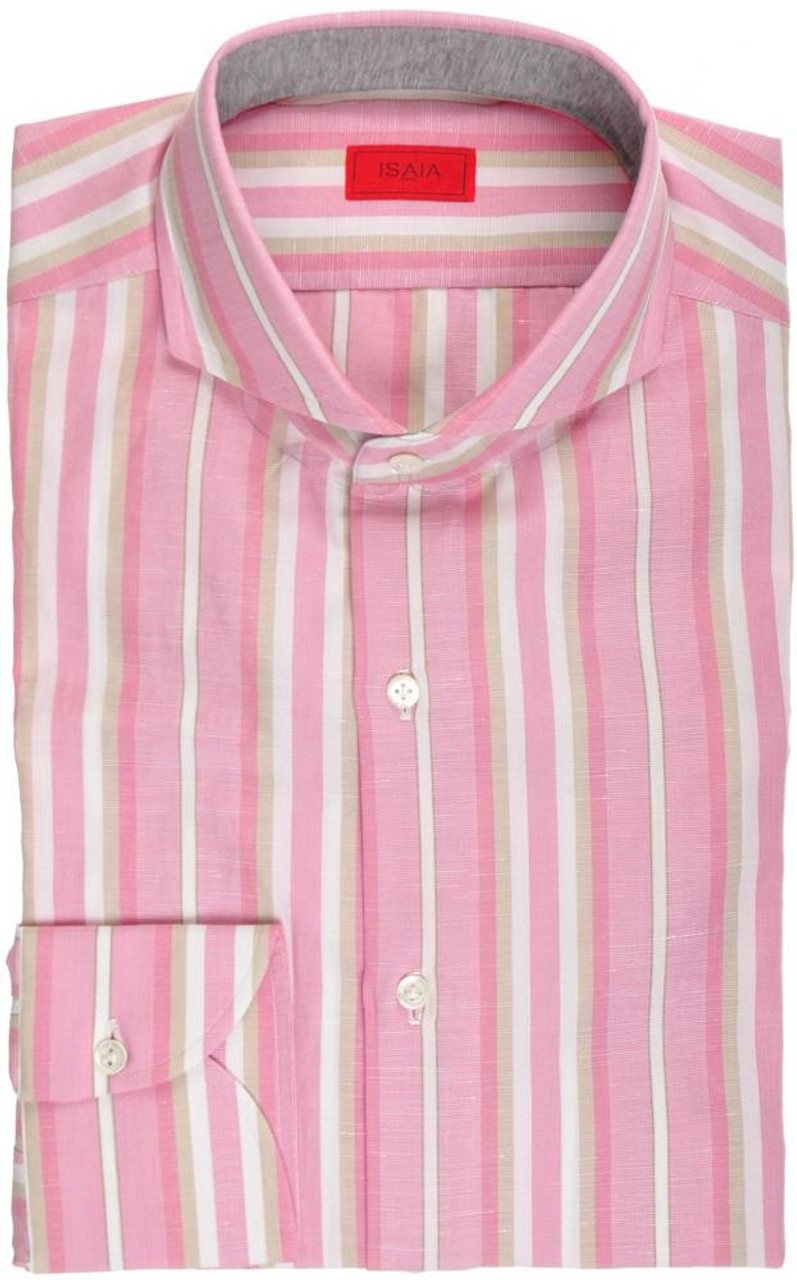 1869c8a128 Isaia Napoli Dress Shirt Cotton Linen 39 15 1 2 Pink Brown Stripe