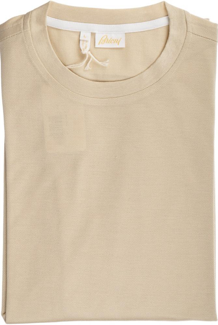 68a928ae25c Brioni T-Shirt Extra Fine Cotton Large Brown W  Sleeve Detail