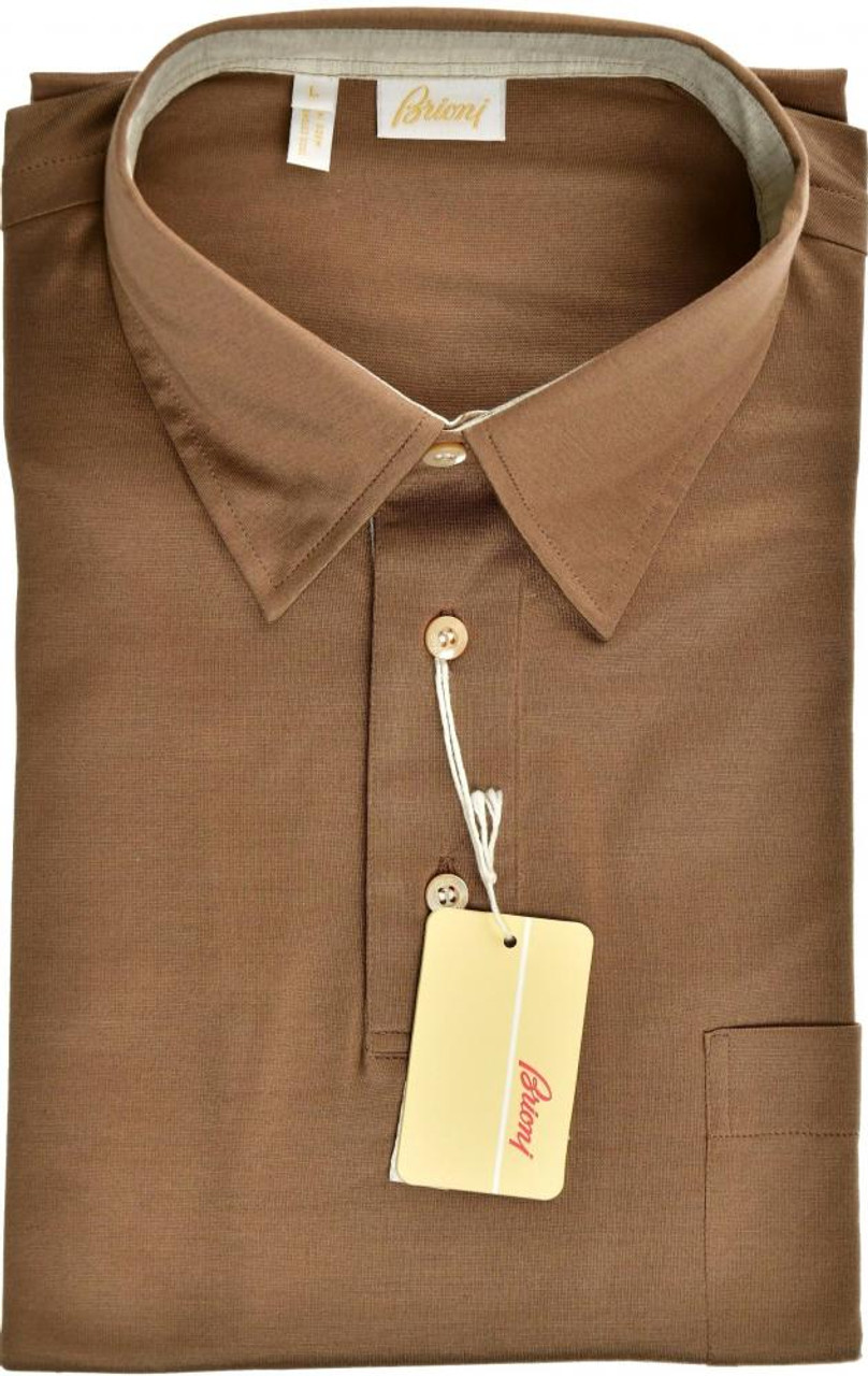 e4cd4ab7356 Brioni Polo Shirt Fine Cotton Large Brown