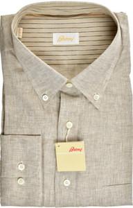 Brioni Dress Shirt Superfine Linen XXLarge VI Brown