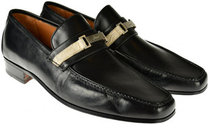 Brioni Dress Shoes Loafers Leather 7.5 US 6.5 UK Black
