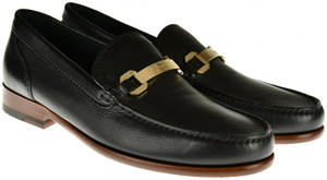 Brioni Dress Shoes Loafers Leather 7 US 6 UK Black