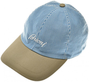 Brioni Baseball Cap Hat Cotton W/ Logo Blue Stripe