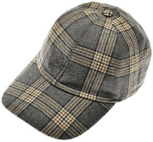 Brioni Baseball Cap Hat Wool W/ Logo Gray Plaid