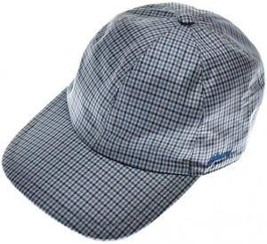 Brioni Baseball Cap Hat Silk W/ Logo Blue Check
