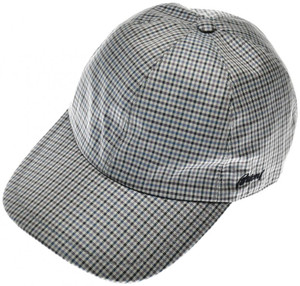 Brioni Baseball Cap Hat Silk W/ Logo Blue Purple Check