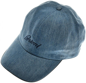 Brioni Baseball Cap Hat Cotton Denim W/ Logo Blue