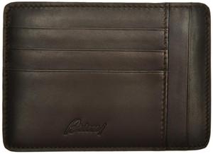 Brioni Wallet Card Case W/ Zip Pocket Leather Dark Brown