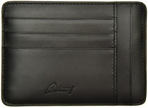 Brioni Wallet Card Case W/ Zip Pocket Leather Black