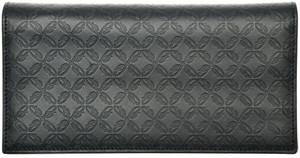 Brioni Wallet Checkbook 12 Card W/ Zip B Logo Leather Blue