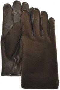 Brioni Gloves Handmade Shearling & Leather Size 9 Brown