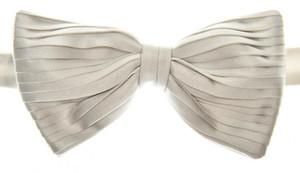 Brioni Bow Tie Pleated Silk Silver