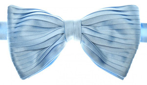 Brioni Bow Tie Pleated Silk Blue