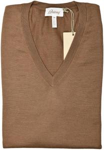 Brioni Sweater V-Neck Vest Cashmere Silk Size XXLarge Brown