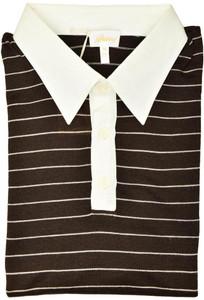 Brioni Sweater Polo Silk Linen Size XXLarge Brown White