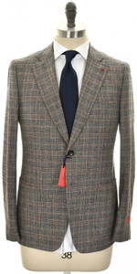 Isaia Suit 'Capri' 2B Wool Saxony Size 42 Gray Brown Plaid