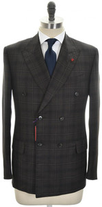 Isaia Suit 'Sanita' DB Wool 140's Size 40 Brown Plaid