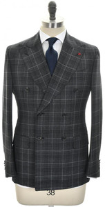 Isaia Suit 'Musa' DB Wool 140's Size 38 Gray Windowpane