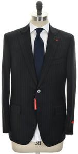 Isaia Suit 'Sanita' 2B Wool 140's Size 42 Black Stripe