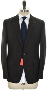 Isaia Suit 'Gregory' 3B Wool 140's Size 40 Brown Stripe