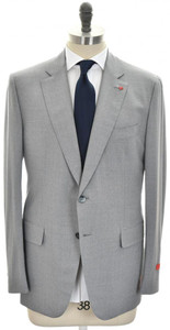 Isaia Suit 'Gregory' 2B Wool Aqua 3-Ply Size 46 Light Gray