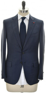 Isaia Suit 'Sanita' 2B Wool 140's Size 38 Blue Stripe