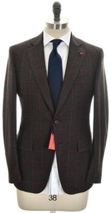 Isaia Suit 2B Wool 130's Size 38 Brown Windowpane