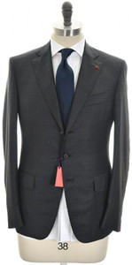 Isaia Suit 'Gregory' 3B Wool 140's Size 38 Gray Windowpane