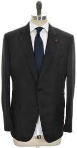 Isaia Suit 2B Wool 120's Size 46 Black Subtle Stripe