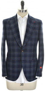 Isaia Sport Coat Jacket 'Enis' 2B Wool Blend Size 40 Blue Plaid