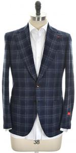 Isaia Sport Coat Jacket 'Enis' 2B Wool Blend Size 38 Blue Plaid