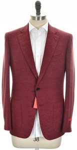 Isaia Sport Coat Jacket 'Gregorio' 2B Wool Cashmere Size 42 Red