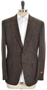 Isaia Sport Coat Jacket 'Gregory' 2B Wool Silk Size 44 Brown