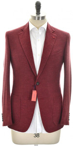 Isaia Sport Coat Jacket 'Gregory' 2B Wool Cashmere Size 38 Red
