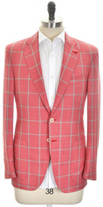 Isaia Sport Coat Jacket 'Sanita' 2B Wool 140's Size 40 Pink