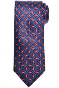 Brioni Tie Silk Blue Red Geometric
