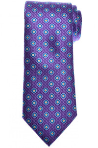 Brioni Tie Silk Blue Purple Geometric