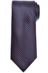 Brioni Tie Silk Blue Orange Geometric