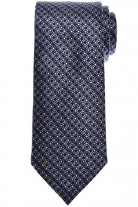 Brioni Tie Silk Black Purple Geometric