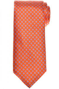 Brioni Tie Silk Orange Blue Geometric