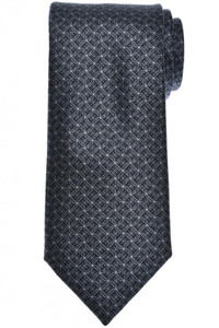 Brioni Tie Silk Black Gray Geometric
