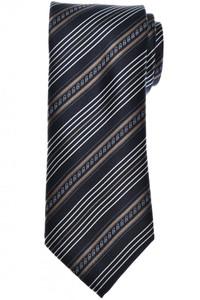 Brioni Tie Silk Black Brown Stripe