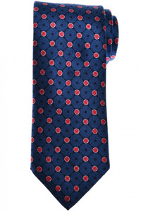 Brioni Tie Silk Blue Red Geometric