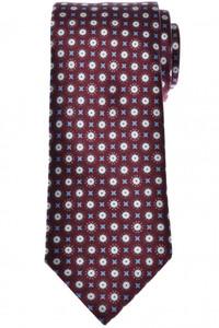 Brioni Tie Silk Burgundy Blue Geometric