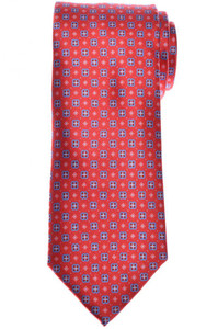 Brioni Tie Silk Red Blue Geometric