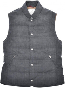 Brunello Cucinelli Vest Water Resistant Wool Down Size Small Gray