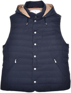 Brunello Cucinelli Vest W/ Hood Matte Nylon Down Size Small Blue