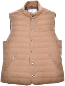 Brunello Cucinelli Vest Matte Nylon Down Size Large Camel Brown