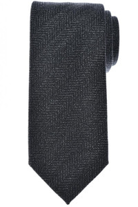 Tom Ford Tie Woven Mohair Wool Dark Gray Herringbone