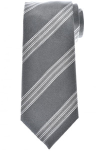 Tom Ford Tie Woven Silk Gray Stripe